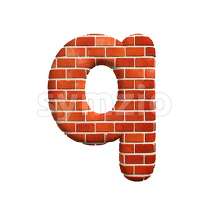 3d Lower-case font Q covered in Brick texture Stock Photo