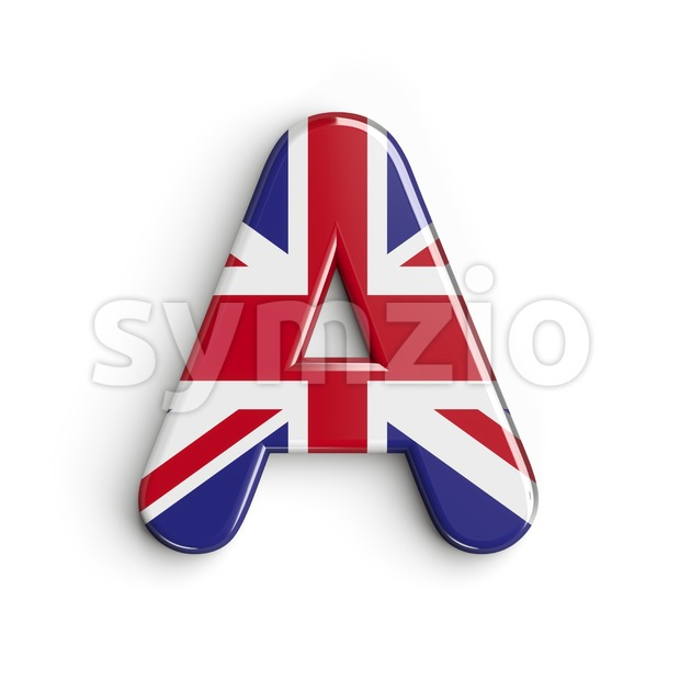 british flag letter A - Capital 3d character Stock Photo