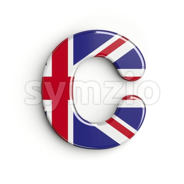 3d british flag font C - Capital 3d letter Stock Photo