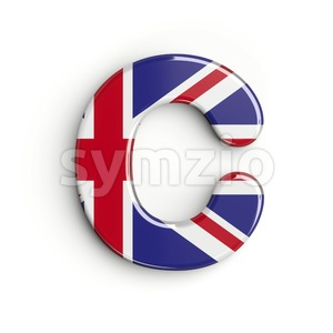 3d british flag font C - Capital 3d letter Stock Photo
