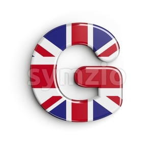 Upper-case british flag character G - Capital 3d font Stock Photo