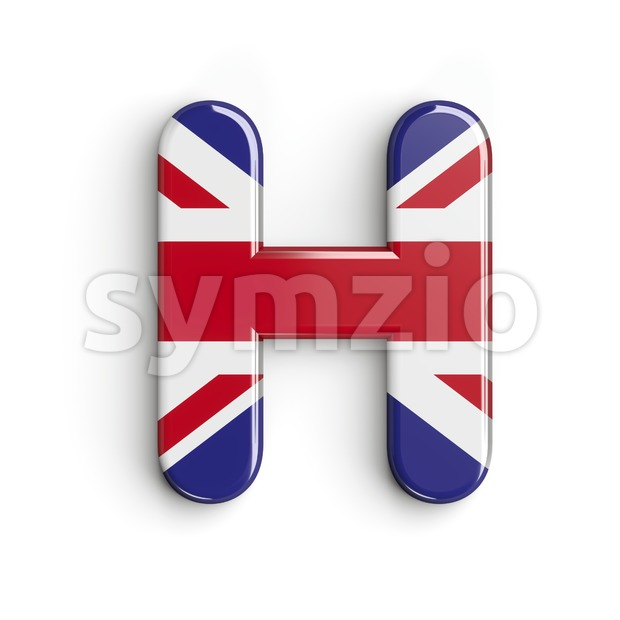 british flag 3d letter H - Upper-case 3d character Stock Photo
