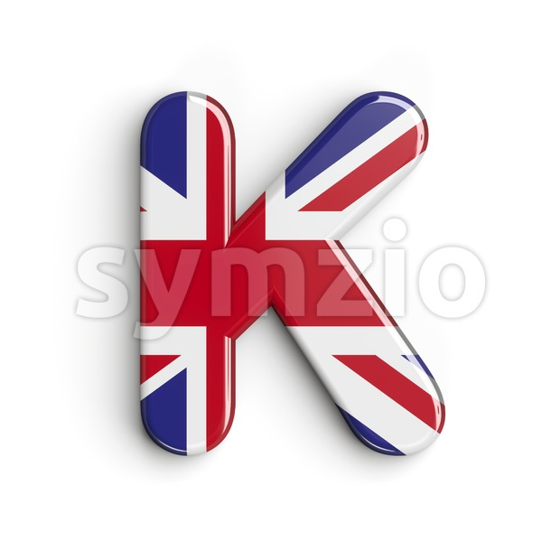 Uppercase british flag letter K