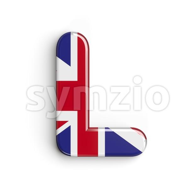Union 3d font L - Capital 3d character Stock Photo