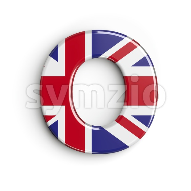 3d Upper-case letter O covered in british flag texture