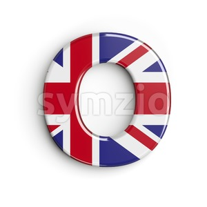 3d Upper-case letter O covered in british flag texture Stock Photo