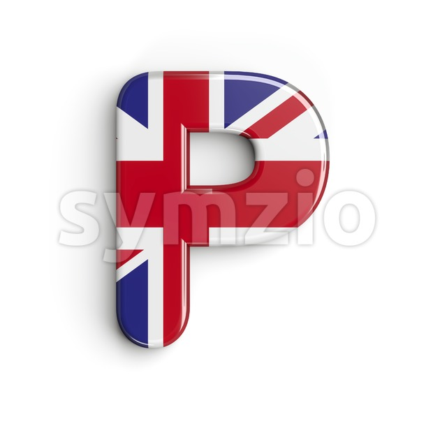 Upper-case Union character P - Capital 3d font Stock Photo