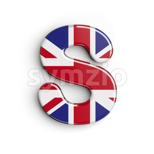 3d Uppercase font S covered in british flag texture Stock Photo
