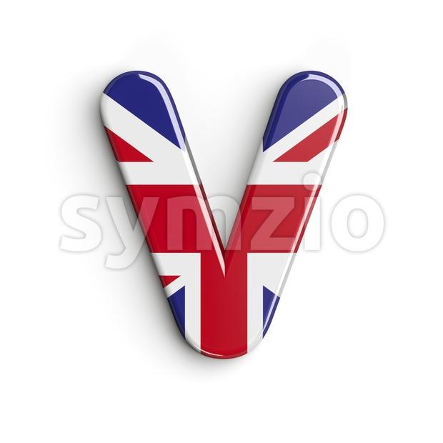 Capital british flag letter V - Upper-case 3d character Stock Photo