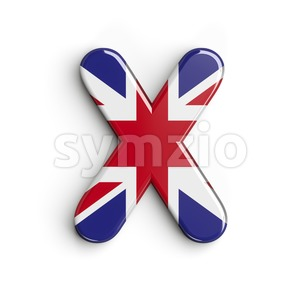 3d Upper-case character X covered in Union texture Stock Photo