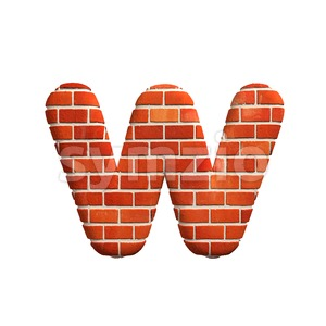 3d Lower-case letter W covered in Brick texture Stock Photo