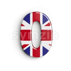 Union Jack number 0 - 3d digit Stock Photo