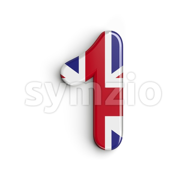 Union Jack number 1 - 3d digit Stock Photo