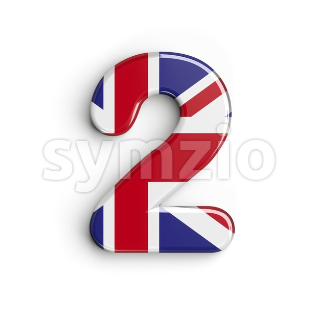 Union Jack digit 2 - 3d number Stock Photo
