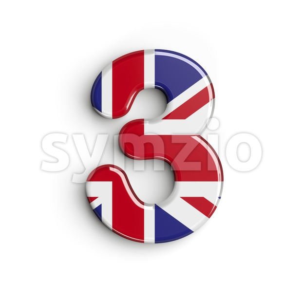 Union Jack number 3 - 3d digit Stock Photo