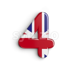 Union Jack digit 4 - 3d number Stock Photo
