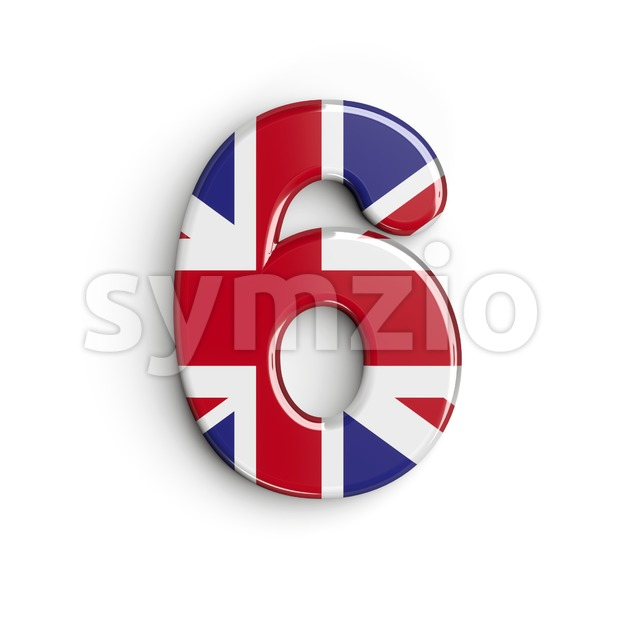 Union Jack digit 6 - 3d number Stock Photo