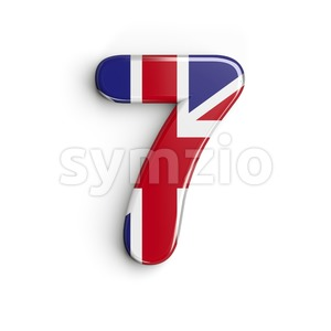 Union Jack number 7 - 3d digit Stock Photo