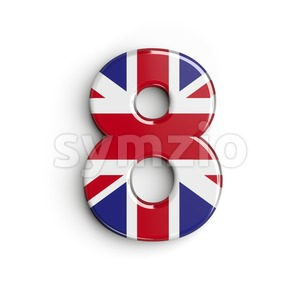 Union Jack digit 8 - 3d number Stock Photo