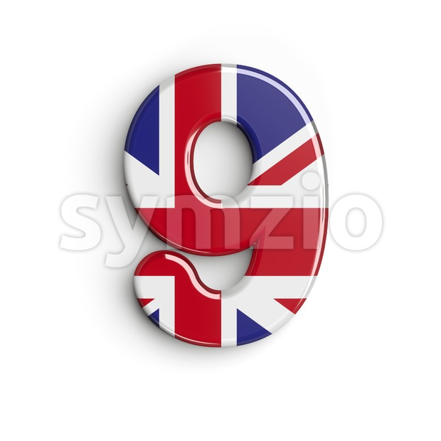 Union Jack number 9 - 3d digit Stock Photo