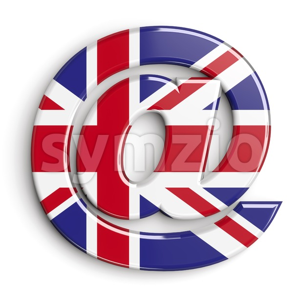Union Jack at-sign - 3d arobase symbol Stock Photo