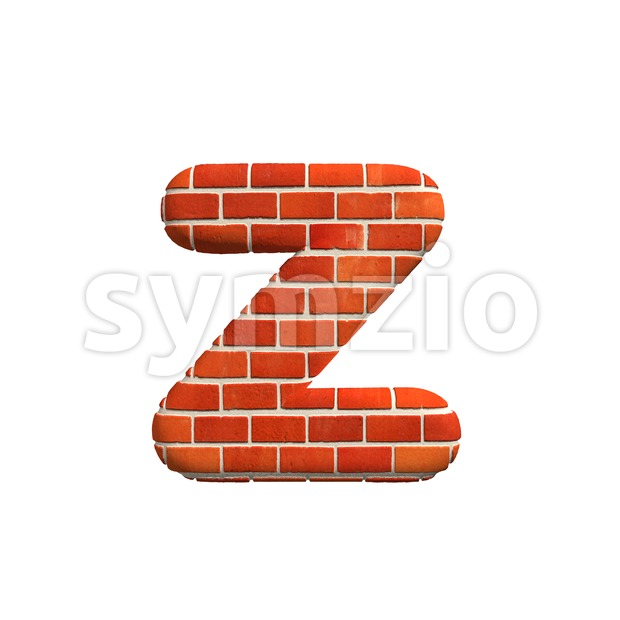 Brick 3d character Z - Lower-case 3d font Stock Photo