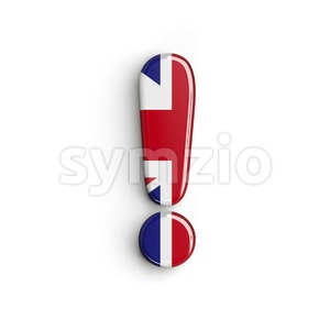 Union Jack exclamation point - 3d symbol Stock Photo
