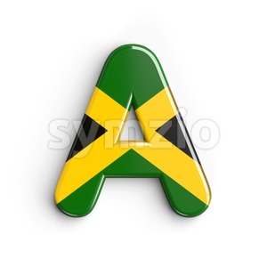 jamaica flag letter A - Capital 3d character Stock Photo