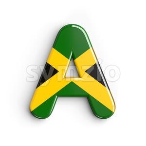 jamaica flag letter A - Capital 3d character Stock Photo