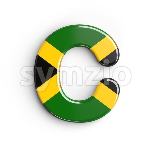 3d jamaica flag font C - Capital 3d letter Stock Photo