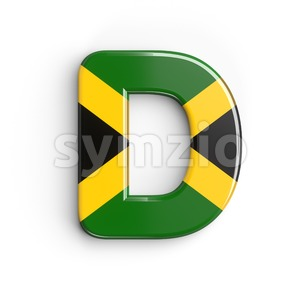 jamaican flag font D - Capital 3d character Stock Photo
