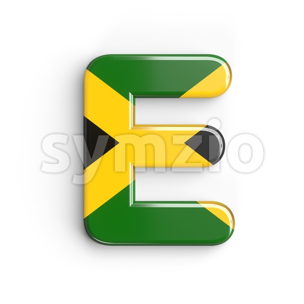 3d Capital character E covered in jamaican flag texture Stock Photo