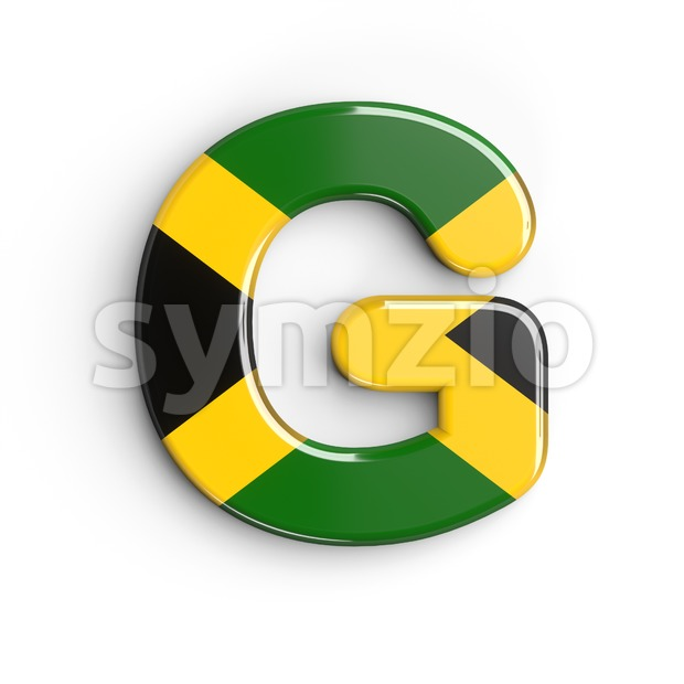 Upper-case jamaica flag character G - Capital 3d font Stock Photo