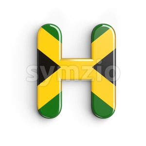 jamaica flag 3d letter H - Upper-case 3d character Stock Photo