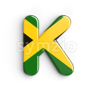 Uppercase jamaica flag letter K - Capital 3d font Stock Photo