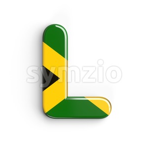 jamaican flag 3d font L - Capital 3d character Stock Photo