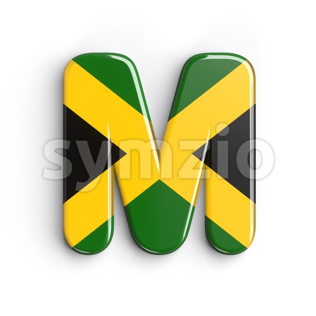 3d Capital character M covered in jamaican flag texture Stock Photo