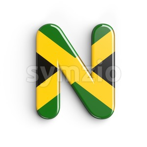 jamaican flag font N - Capital 3d letter Stock Photo