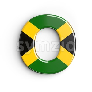 3d Upper-case letter O covered in jamaica flag texture Stock Photo