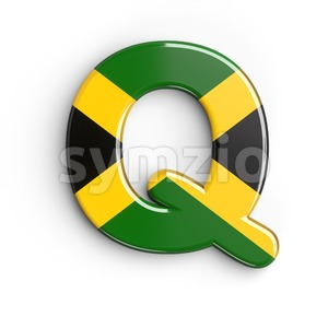 3d Upper-case font Q covered in jamaican flag texture Stock Photo