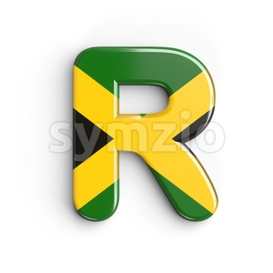 jamaican flag letter R - Uppercase 3d font Stock Photo