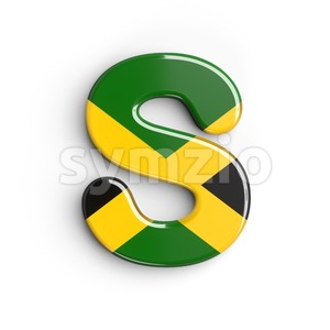 3d Uppercase font S covered in jamaica flag texture Stock Photo