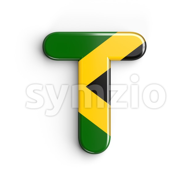 jamaica character T - Uppercase 3d letter Stock Photo