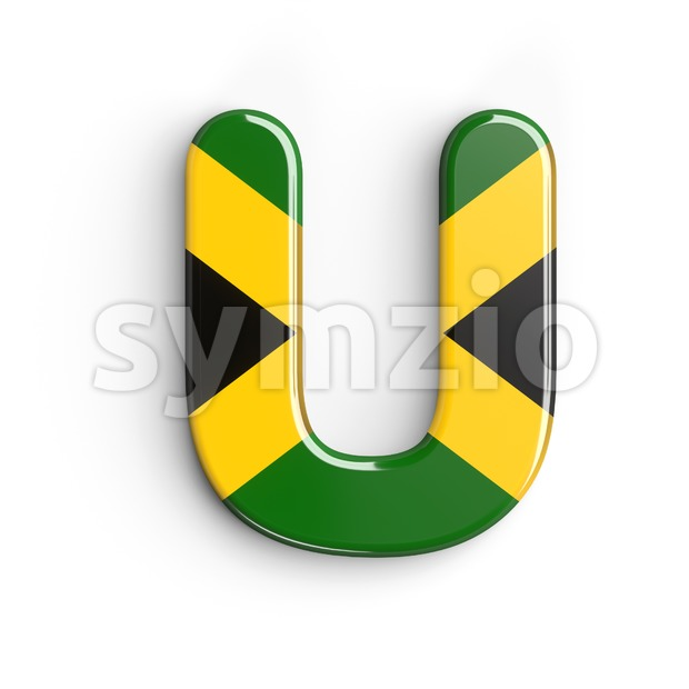 jamaica flag 3d letter U - Capital 3d font Stock Photo