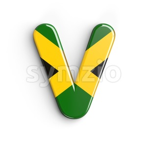 Capital jamaica flag letter V - Upper-case 3d character Stock Photo