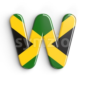 jamaica font W - Capital 3d letter Stock Photo
