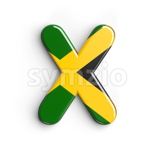 3d Upper-case character X covered in jamaican flag texture Stock Photo