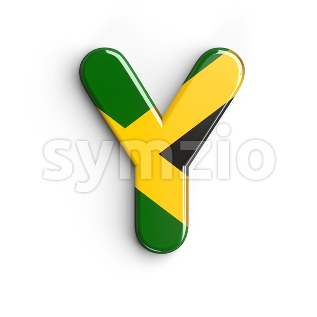 Upper-case jamaica flag font Y - Capital 3d character Stock Photo
