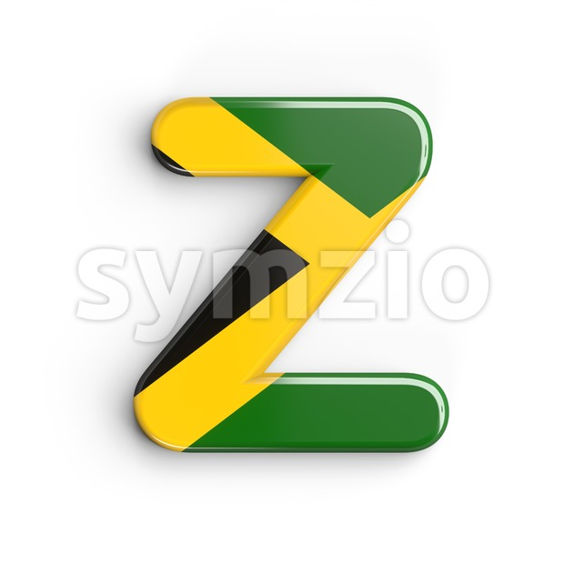 jamaican flag letter Z - Upper-case 3d font Stock Photo