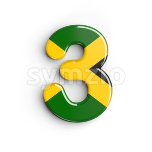 jamaica number 3 - 3d digit Stock Photo